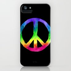 Rainbow Watercolor Peace Sign - Black Background iPhone (5, 5s) Slim Case