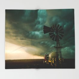 Pure Oklahoma - Windmill, Truck and Storm on Great Plains Throw Blanket