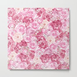 Hand painted white blush pink  coral floral Metal Print