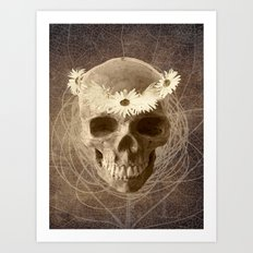 Skull Human Vintage Flowers Digital Collage 2 Art Print