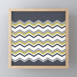 Gray yellow chevron zig zag  Framed Mini Art Print