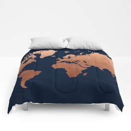 World map navy blue and copper Comforters