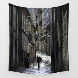 Pilgrim in Santiago de Compostela; after the walk Wall Tapestry