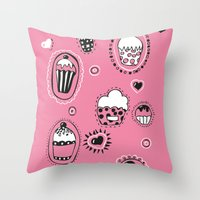 cupcakes Throw Pillows featuring Cupcakes! by Duru Eksioglu