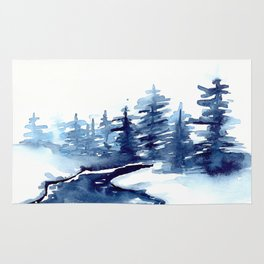 Blue Pine Trees Rug