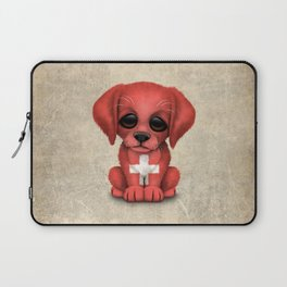 Cute Puppy Dog with flag of Switzerland Laptop Sleeve