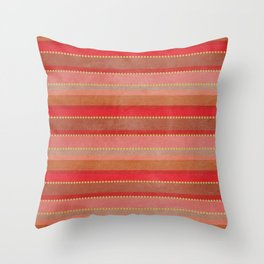 Distressed Stripes in Red Throw Pillow