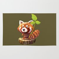 red panda Area & Throw Rugs featuring Red Panda by hkxdesign