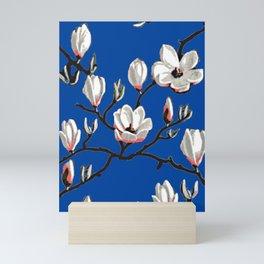 Magnolia blue floral Mini Art Print