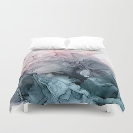 Blush and Paynes Gray Flowing Abstract Reflect Duvet Cover