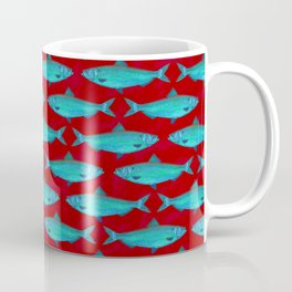 Red and Blue Fish Pattern Coffee Mug