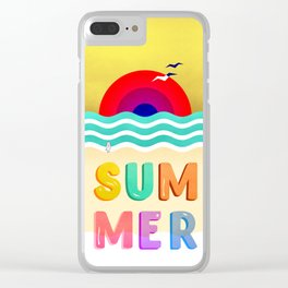 #037 HOT SUMMER on the beach Clear iPhone Case