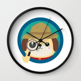 Dog detective with magnifying glass Wall Clock