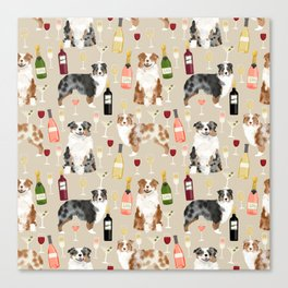 Australian Shepherd blue and red merle wine cocktails yappy hour pattern dog breed Canvas Print