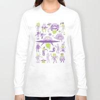 aliens Long Sleeve T-shirts featuring Wow! Aliens!  by Josh Ln
