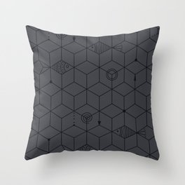 two fishes || dark water Throw Pillow