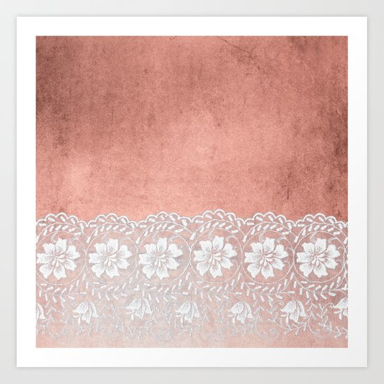 White floral luxury lace on pink rosegold grunge backround Art Print