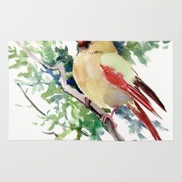 Cardinal Bird Artwork, female cardinal bird Rug