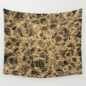 Gold Thread on Black | Abstract Brain Map 3 by homedeco