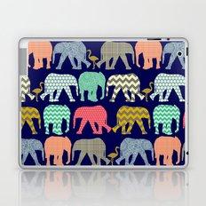 baby elephants and flamingos navy Laptop & iPad Skin