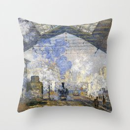 Claude Monet - The Saint-Lazare Station - Digital Remastered Edition Throw Pillow