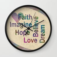 inspirational Wall Clocks featuring Inspirational by LLL Creations
