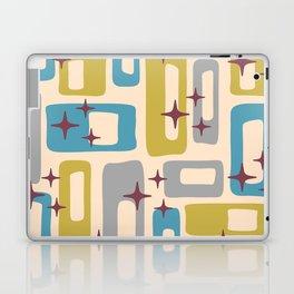 Retro Mid Century Modern Abstract Pattern 924 Turquoise Gray Olive Laptop & iPad Skin