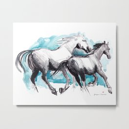 Horses (Mom&kid) Metal Print