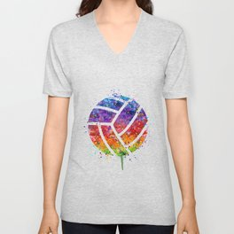 Volleyball Ball Colorful Watercolor Art Sports Gift Unisex V-Neck