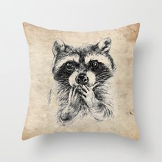 Surprised raccoon Throw Pillow