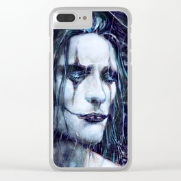 Crow in the Rain Clear iPhone Case