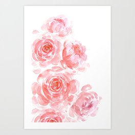 Dreamy pink watercolor peonies Art Print