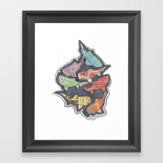Newspaper Fish Framed Art Print