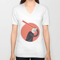 dark side V-neck T-shirts featuring SIDE BY SIDE - DARK SIDE by Side by Side