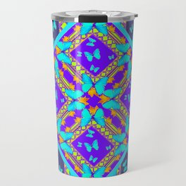 Western Style Purple Turquoise Butterflies Creamy Gold Patterns Travel Mug