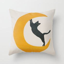 Moon and Cat Throw Pillow
