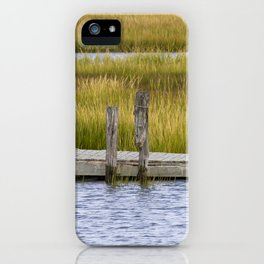 Wooden pier in marshlands iPhone Case