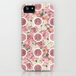 Double Happiness Symbol on Gentle Peony pattern iPhone Case