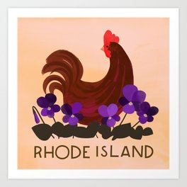 Rhode Island State Bird and Flower Art Print