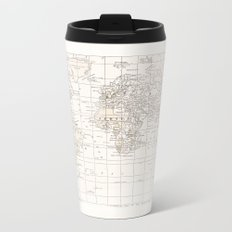 Vintage Cream and White Metal Travel Mug