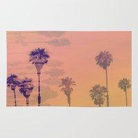 santa monica Area & Throw Rugs featuring Santa Monica Palms by Nina May Designs