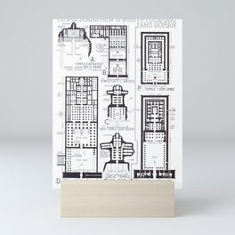 Fletcher's History of Architecture (1946) - Egypt - Temple Plans of New Empire (Ptolemaic & Roman) Mini Art Print