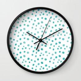 Small Blue Watercolor Abstract Polka Dots Wall Clock