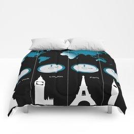 TIME ZONES. NEW YORK, LONDON, PARIS, TOKYO Comforters