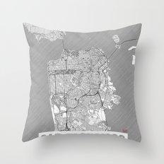 San Francisco Map Line Throw Pillow