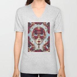 Floral Decadence - Red & Gold Venetian Mask Unisex V-Neck