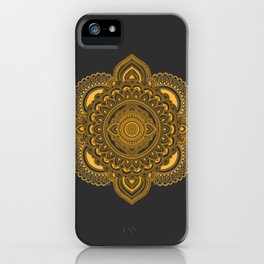 Hand Drawn Mandala in Golden Yellow iPhone Case