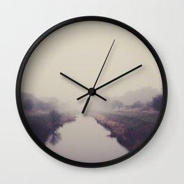 true beauty is a foggy landscape in the English Fens. Wall Clock