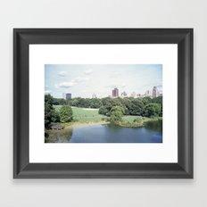new york city, central park + skyline Framed Art Print