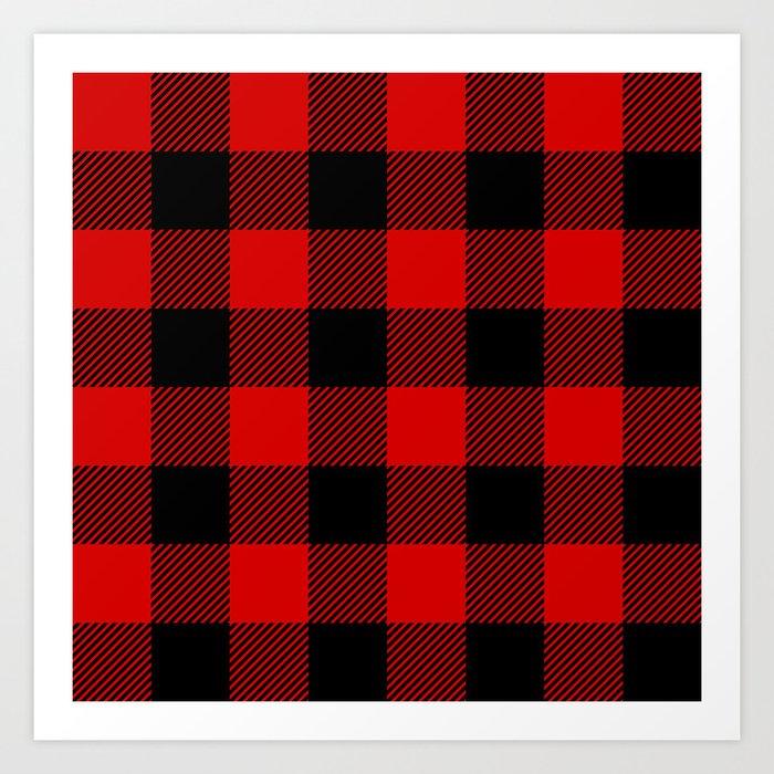 Red Lumberjack Pattern Kunstdrucke